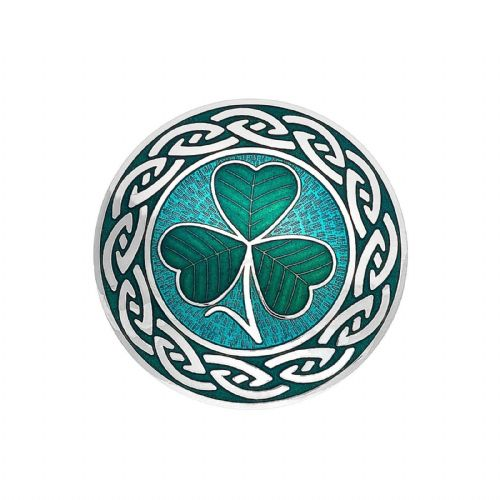 Large Shamrock Brooch Silver Plated Never Ending Knot Brand New Gift Packaging
